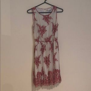 Max Studio Lacy White & Rose Dress